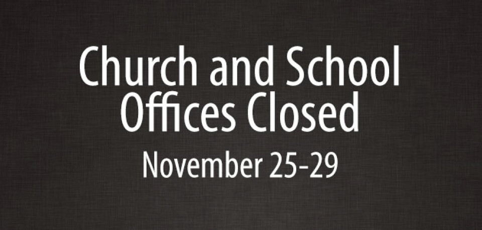 Church and School Offices Closed for Thanksgiving