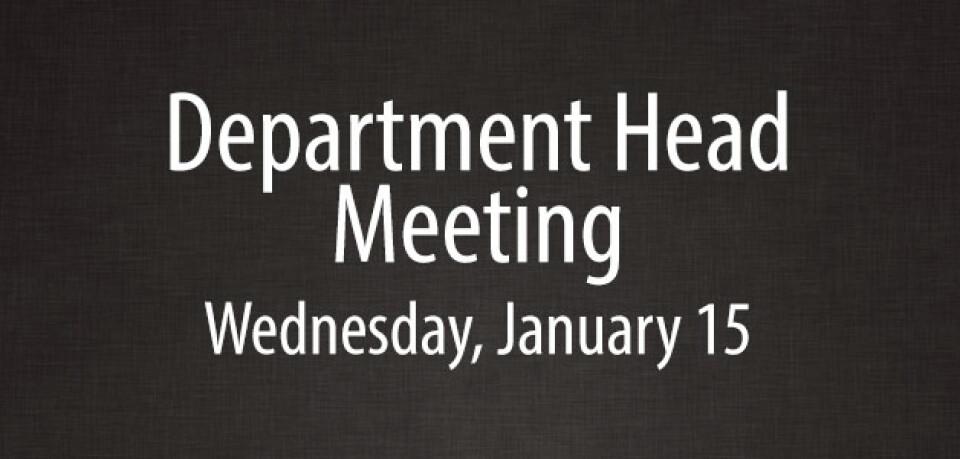 Department Head Meeting